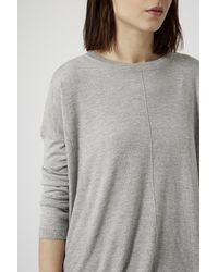 TOPSHOP - Gray Longline Knitted Jumper - Lyst