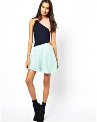 Glamorous - Blue Skater Dress with Cutout Side - Lyst