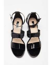 Forever 21 - Black Faux Leather Bow Sandals - Lyst
