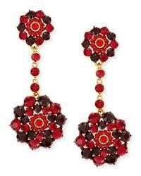 Oscar de la Renta | Red Crimson Crystal Drop Clip-on Earrings | Lyst