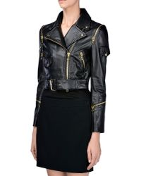 Boutique Moschino - Black Leather Outerwear - Lyst