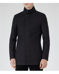 Reiss - Blue Porto Funnel Collar Coat for Men - Lyst