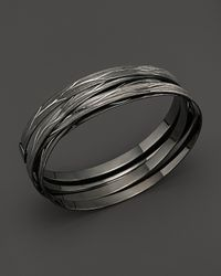Roberto Coin - Metallic Ruthenium And Sterling Silver Medium Bangle - Lyst