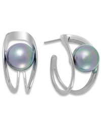 Majorica - Gray Sterling Silver Organic Man-Made Grey Pearl Hoop Earrings - Lyst