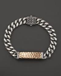 John Hardy | Metallic Men's Sterling Silver And Bronze Palu Medium Gourmette Chain Id Bracelet for Men | Lyst