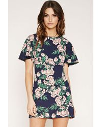 Forever 21   Blue Contemporary Floral Print Dress   Lyst
