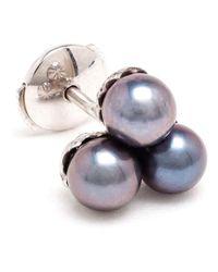 Yvonne Léon | Blue 18Kt Gold And Grey Pearl 'Trilogie' Stud Earring | Lyst