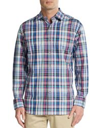 Saks Fifth Avenue | Regular-fit Multicolored Plaid Cotton Sportshirt for Men | Lyst