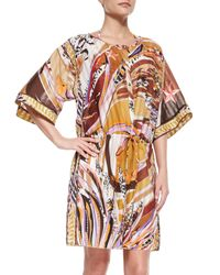 Emilio Pucci - Brown Printed Button-front Caftan Coverup - Lyst