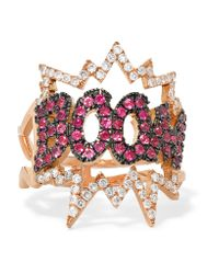 Diane Kordas | Pink Boom 18-karat Rose Gold, Diamond And Sapphire Ring | Lyst