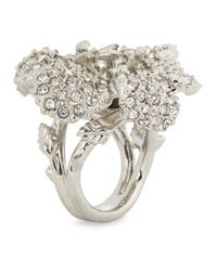 Alexander McQueen | Metallic Silver Plated Lily Ring | Lyst