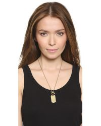 Michael Kors - Metallic Mk Monogram Dog Tag Necklace - Gold - Lyst