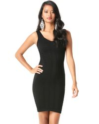 Bebe - Black Textured Sweetheart Dress - Lyst