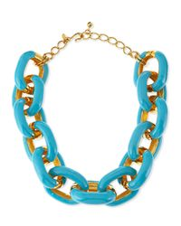 Kenneth Jay Lane | Blue Turquoise Enamel & Gold-plated Link Necklace | Lyst