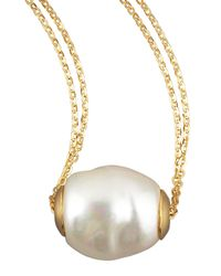 Majorica | Metallic Gold Pearl Pendant Necklace | Lyst