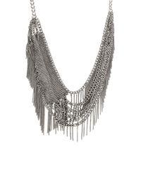 BCBGMAXAZRIA - Gray Layered Mesh Fringe Necklace - Lyst