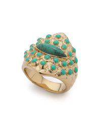 Aurelie Bidermann | Blue Engraved Turquoise Ring - Gold | Lyst
