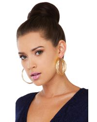AKIRA - Metallic Leaf Me Alone Gold Hoop Earrings - Lyst