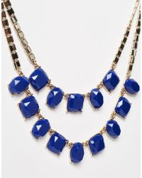 Lipsy | Blue Two Row Square Gem Necklace | Lyst