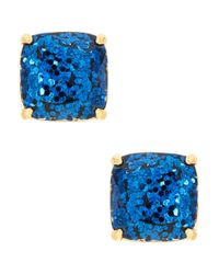 Kate Spade | Blue Navy Glitter Square Studs | Lyst