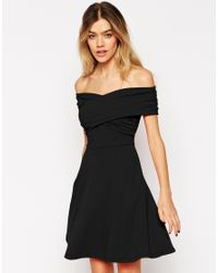 ASOS | Black Bardot Skater Dress With Cross Front And Ruched Detail | Lyst