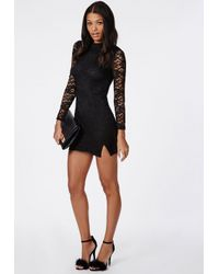 Missguided Lace Long Sleeve Side Split Bodycon Dress Black in Black ... 67d21a3ec