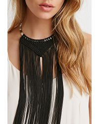 Forever 21 - Black Fringe Bib Necklace - Lyst
