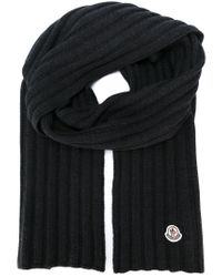 Moncler - Gray Ribbed Knit Scarf for Men - Lyst
