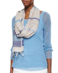 Eileen Fisher | Blue Jacquard Linen Borders Scarf | Lyst