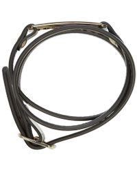 McQ - Metallic Silver Leather Wrap Razor Bracelet - Lyst