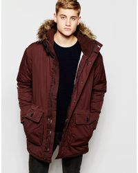 Pull&bear Parka Jacket In Burgundy in Brown for Men | Lyst