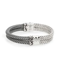 John Hardy | Metallic Men's Dayak Double-row Silver & Nylon Bracelet for Men | Lyst
