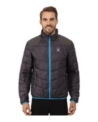 Spyder | Gray Geared Synthetic Down Jacket for Men | Lyst