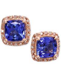 Macy's - Blue Tanzanite (1-9/10 Ct. T.w.) And Diamond (1/6 Ct. T.w.) Stud Earrings In 14k Rose Gold - Lyst