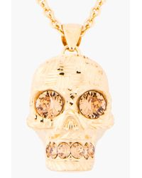 Alexander McQueen - Metallic Gold and Crystal Crosshatched Skull Necklace - Lyst