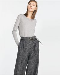 Zara | Gray Top With Side Stripe | Lyst