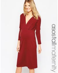 ASOS | Purple Tall Jersey Crepe Plunge Midi Dress | Lyst