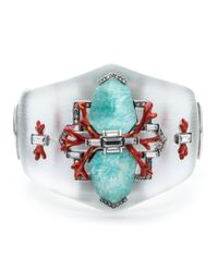 Alexis Bittar | Blue Coral Deco Crystal Baguette Hinged Bracelet | Lyst