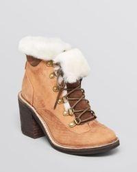 Jeffrey Campbell | Brown Ankle Booties Berle Fur Cuff High Heel | Lyst