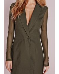 Missguided - Natural Mesh Back Blazer Dress Khaki - Lyst