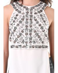 Bebe - Gray Embellished Open Side Tunic - Lyst