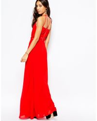 Fallen Star | Red Maxi Dress With Sheer Panel | Lyst