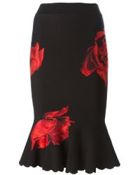Alexander McQueen - Black Rose Print Mermaid Skirt - Lyst