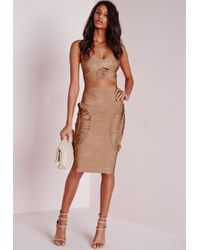 Missguided - Natural Bandage Detail Bandeau Crop Top Camel - Lyst