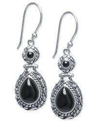 Macy's - Black Onyx Vintage-inspired Drop Earrings (7-4/5mm X 5-4/5mm) In Sterling Silver - Lyst