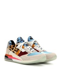 Dolce & Gabbana - Blue Leather And Printed Fabric Sneakers - Lyst