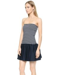 RED Valentino | Blue Striped Strapless Mini Dress - Navy/White | Lyst