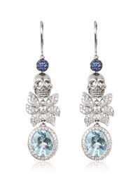 Jade Jagger - Metallic Skull Aqua Earrings - Lyst