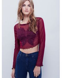 Free People - Purple Fp X Womens Fp X Lover's Lace Applique Top - Lyst