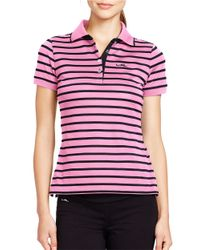 Lauren by Ralph Lauren | Pink Striped Pique Polo Shirt | Lyst